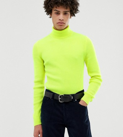 b02e9176023b9c ASOS DESIGN muscle fit ribbed roll neck sweater in neon yellow - Green