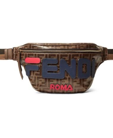 c3d3a1378848 Fendi - Leather-Trimmed Logo-Appliquéd Printed Coated-Canvas Belt Bag - Men