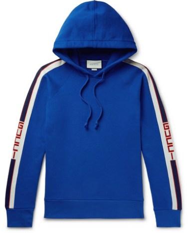09bed9fec5f Gucci - Webbing-Trimmed Loopback Cotton-Jersey Hoodie - Men - Blue