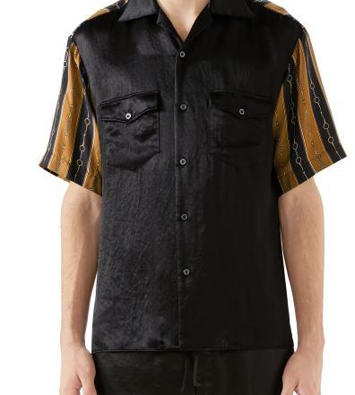 81aa59697034 Men's Gucci Mixed Media Bowling Shirt, Size 46 EU - Black