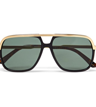 1894c1541bd Gucci - Aviator-Style Acetate and Gold-Tone Sunglasses - Men - Black