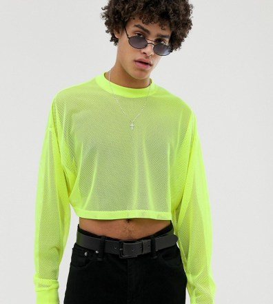 dbed965970c ASOS DESIGN festival oversized cropped long sleeve t-shirt in neon mesh -  Yellow