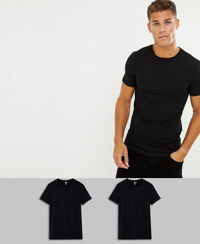 7dae1fd4 ASOS DESIGN organic muscle fit crew neck t-shirt with stretch with stretch  in black