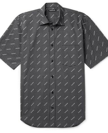60085946f150 Balenciaga – Button-Down Collar Logo-Print Cotton-Poplin Shirt – Men ...