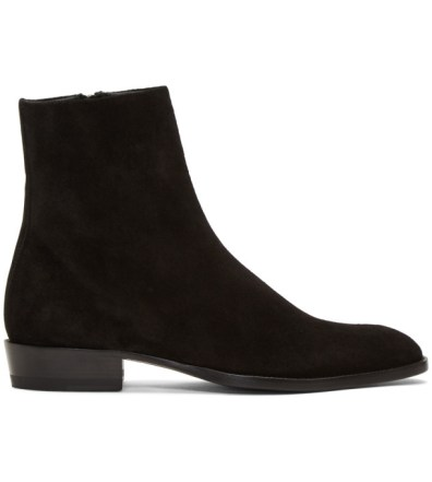 5e31307536a Saint Laurent Black Suede Matt Tall Boots | The Fashionisto