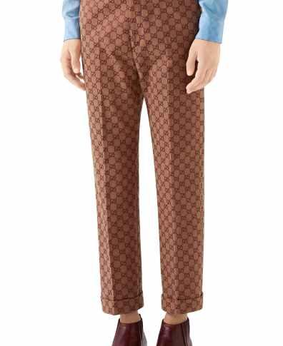 b1226b98 Men's Gucci Gg Jacquard Straight Leg Pants, Size 48 EU – Brown | The ...