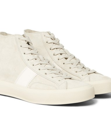 04bbc1154 TOM FORD - Cambridge Leather-Trimmed Suede High-Top Sneakers - Men - Off