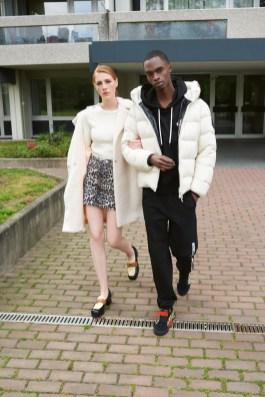 APROPOS-Journal-2019-Brutal-Elegance-Harris Wharf coat + Ganni jumper, skirt + Gucci shoes + Moncler jacket + Off-White sneakers
