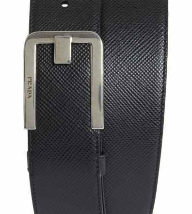 c024128d Men's Prada Saffiano Leather Belt, Size 90 EU – Black And Gold | The ...