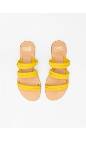 Estil σανδάλια με διπλές σειρές κοτσιδάκια - Κίτρινο