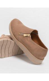 Estil suede loafers με φερμουάρ - Biscuit