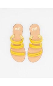 Estil suede σανδάλια με διπλές σειρές λουράκια - Κίτρινο
