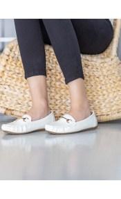 Loafers λουστρίνι με μεταλλική αγκράφα - Λευκό