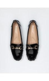 Loafers λουστρίνι με μεταλλική αγκράφα - Μαύρο