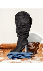 Suede block heel μπότες με σούρες - Μαύρο