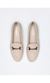 Suede φλατ παπούτσια με μαλακή σόλα - Μπεζ