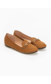 Suede loafers με μεταλλική αγκράφα - Ταμπά