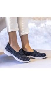 Υφασμάτινα slip on sneakers - Μπλε σκούρο
