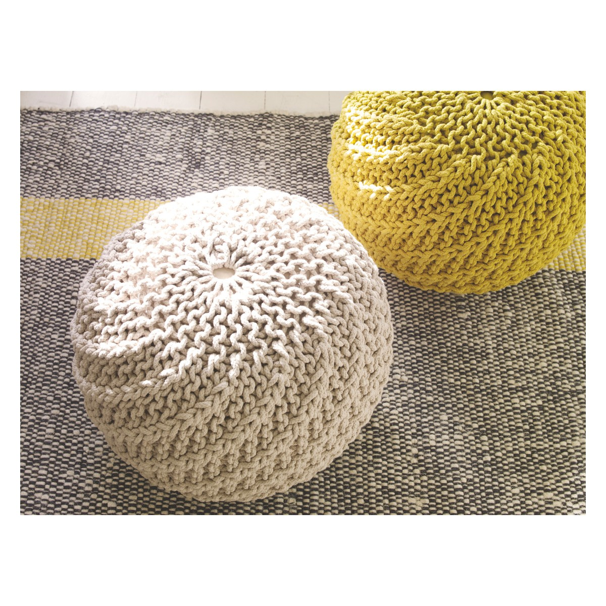 mustard yellow bean bag chair sleeping in office knitted pouffe home safe