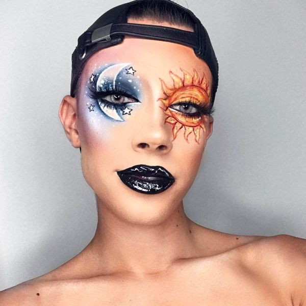 Halloween Makeup Devil And Angel.James Charles Halloween Makeup Eyeshadow Devil And Angel