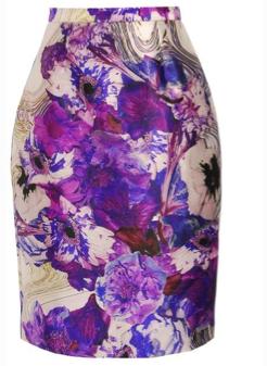 Prabal Gurung Woolsilk Printed Pencil Skirt