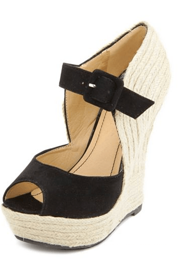 Charlotte Russe Sueded Mary Jane Jute Wedge