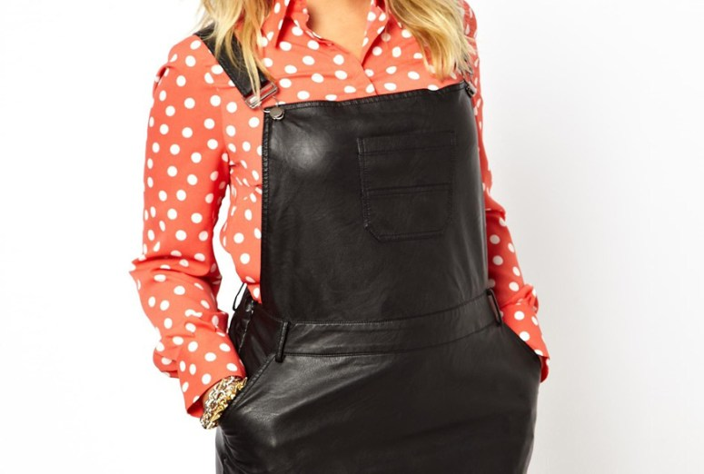 plus size leather overalls
