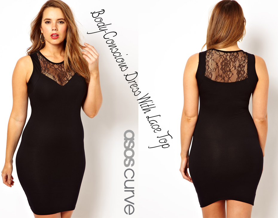 Body-Conscious Dress With Lace Top