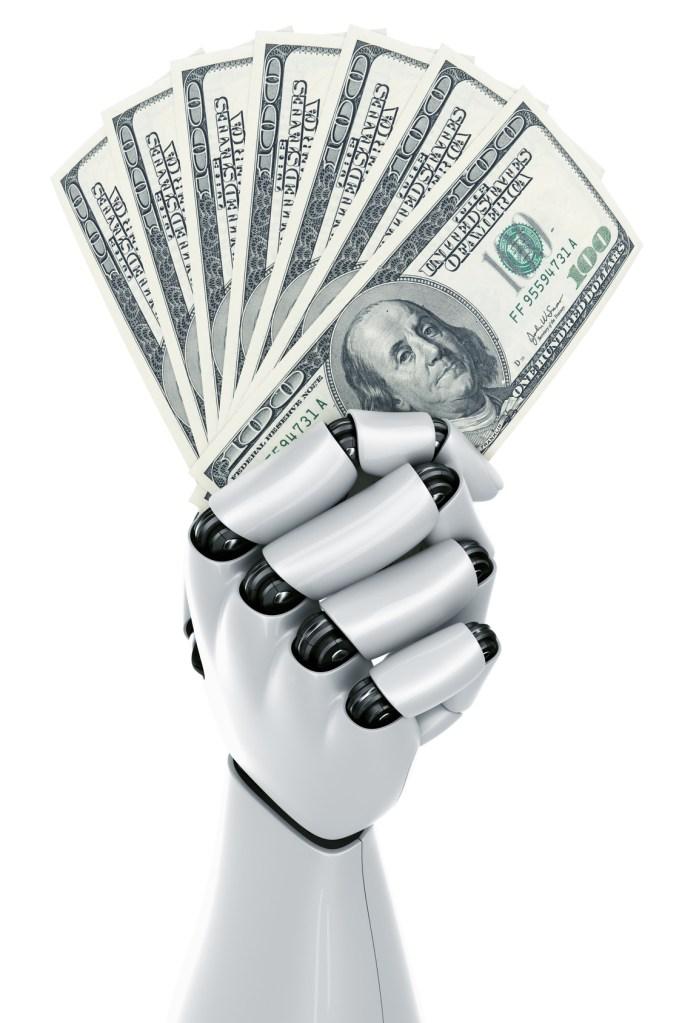 Robot holding money