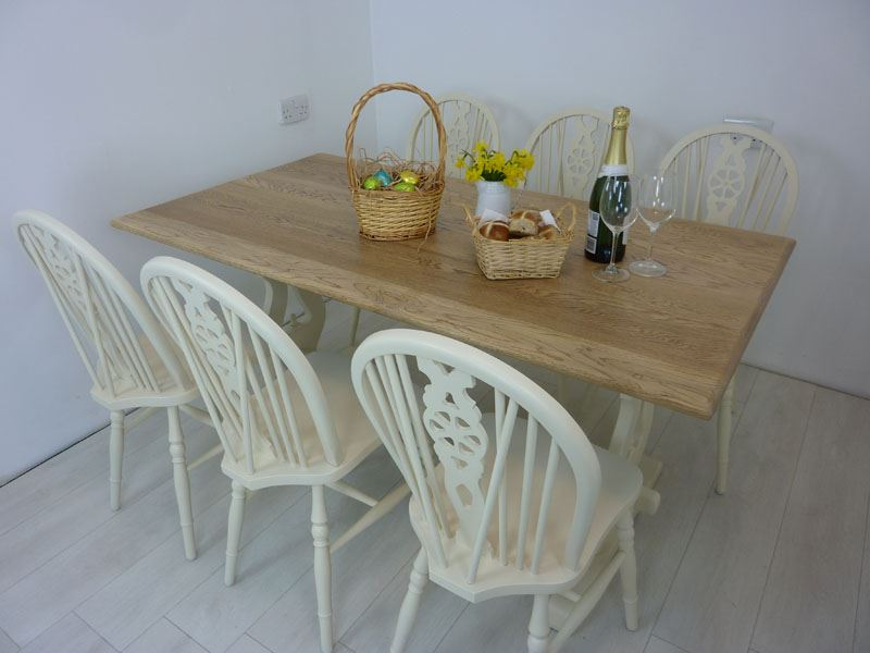 oak farmhouse chairs mesh patio 5ft solid bench table and 6 wheelback painted picture of