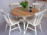 Pine Round Pedestal Table and 4 Farmhouse Chairs-Painted ...