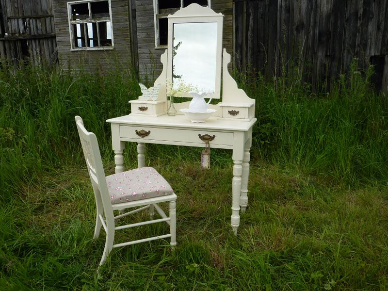 Victorian Antique Dressing Table  ChairPainted Vintage