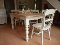 Pine Block Farmhouse Table and 6 Chairs-Painted Vintage ...