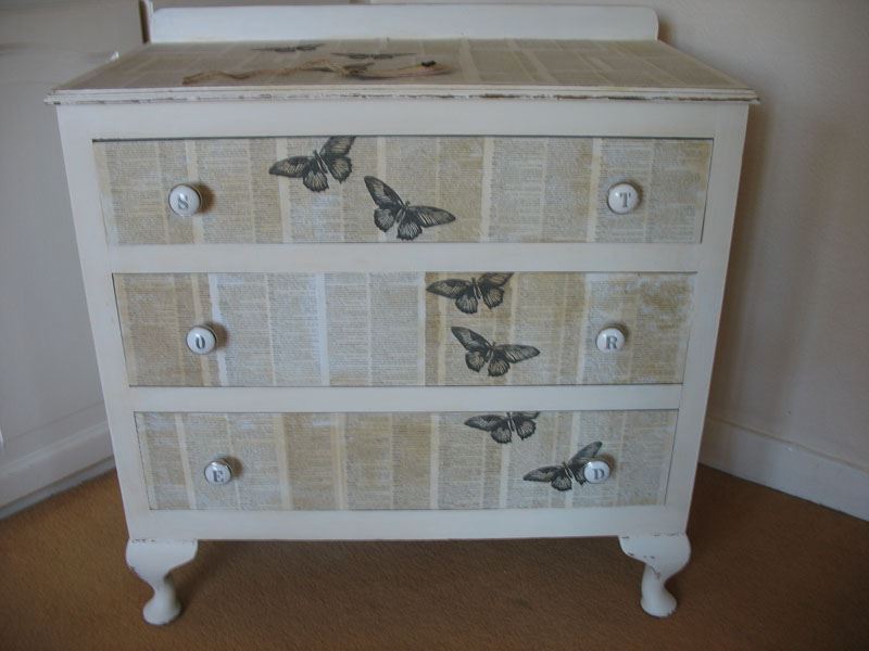 Shabby Chic Decoupaged 3 Drawer Chest Painted Vintage