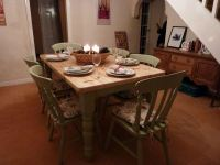 Pine Farmhouse Kitchen Table With 6 Chairs-Painted Vintage ...