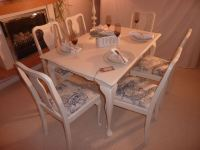 Shabby Chic Extendable Dining Table with 6 Chairs-Painted ...