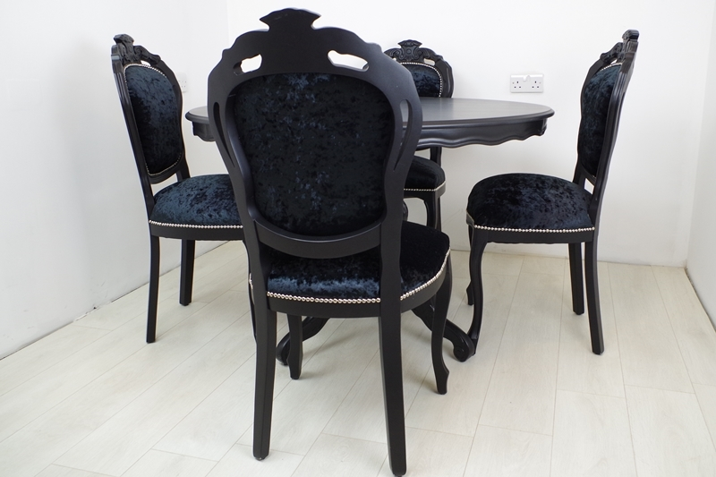 black table and chairs small round outdoor chair cushions louis french style pedestal 4 in painted picture of