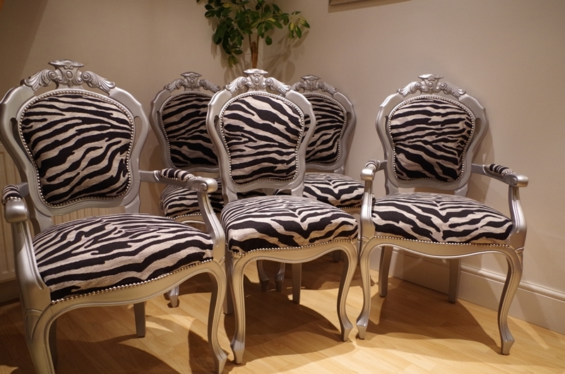 Silver LouisStyle Chairs with Zebra Print FabricPainted