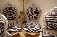 Silver Louis-Style Chairs with Zebra Print Fabric-Painted ...