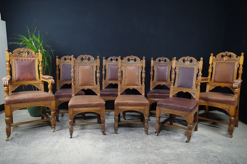 antique oak dining chairs chair covers wedding essex carved c1890 painted vintage picture of