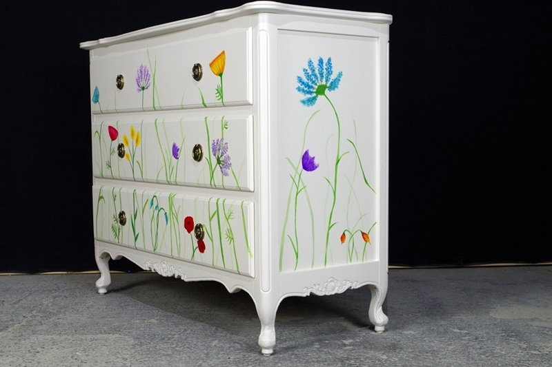 3 Drawer Chest Original Flower Art Painted Vintage