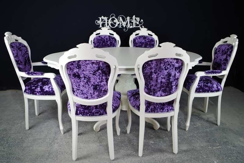 French Style Dining Table and 6 ChairsPainted Vintage