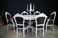 French Style Dining Table with 6 Louis Chairs-Painted ...