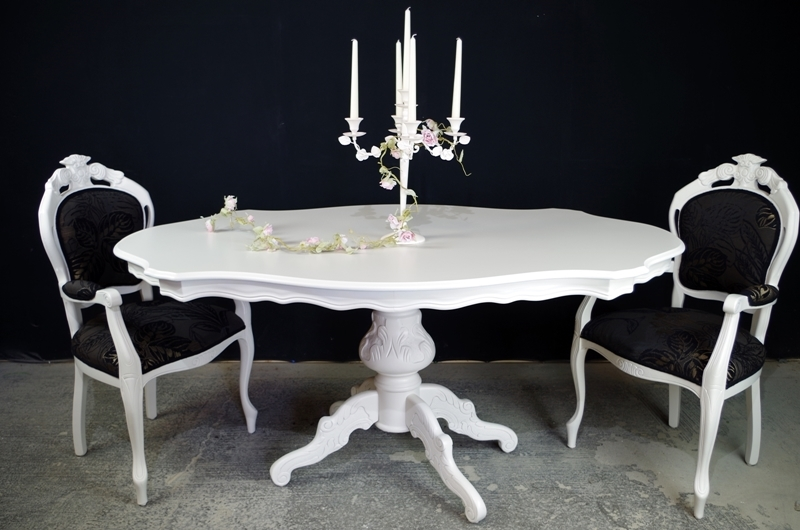 French Style Dining Table with 6 Louis ChairsPainted