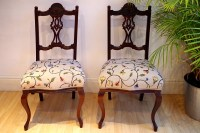Pair of Antique Edwardian Upholstered Chairs-Painted ...