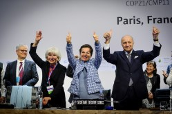 Celebrations as the COP21 agreement is made.