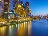 night time image of Melbourne Yarra and buildings