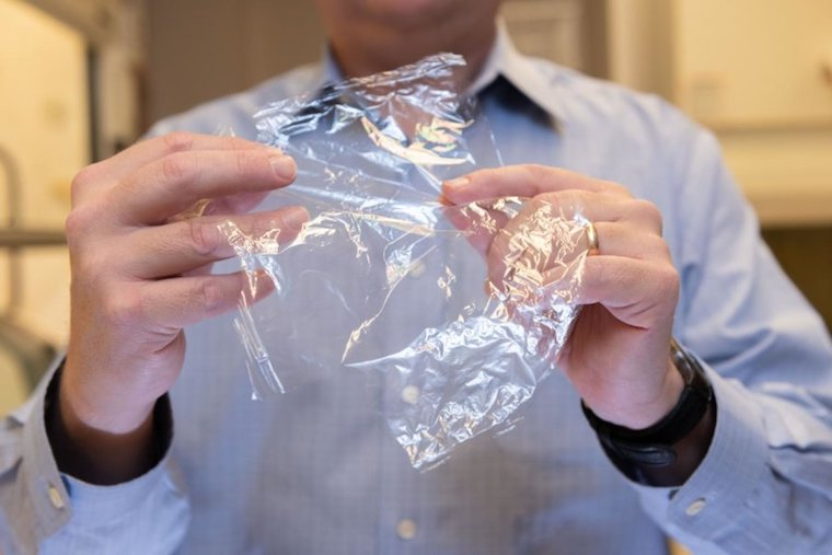 J. Carson Meredith, a professor in Georgia Tech's School of Chemical and Biomolecular Engineering, holds the new packaging material made from crab shell-sourced chitin and cellulose sourced from tree fibers. Credit: Allison Carter, Georgia Tech