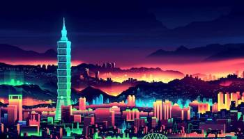 neon city illustration hydrogen