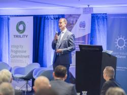 Kevin Werksman,  Aurecon global water markets leader, speaking at the Smart Water Summit in Adelaide in March 2018.